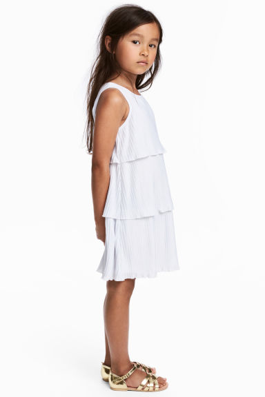 Pleated tiered dress - White -  | H&M 1