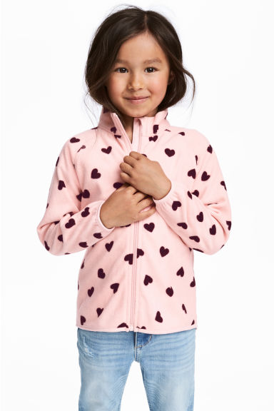 Fleece jacket - Light pink/Heart - Kids | H&M CA