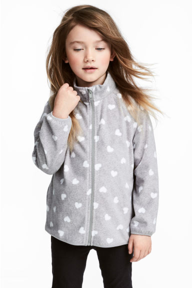 Fleece jacket - Grey heart - Kids | H&M 1