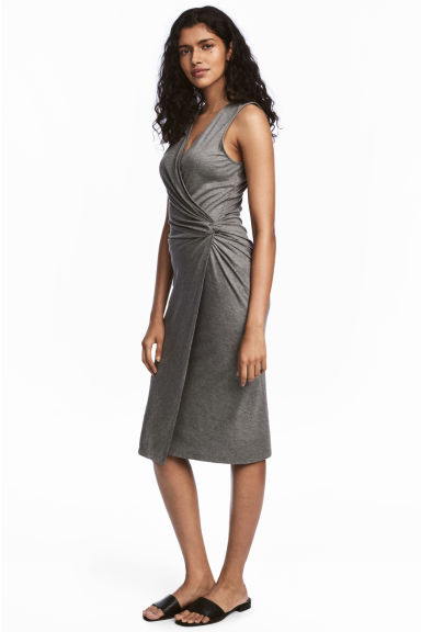 Knot-detail dress - Dark grey marl - Ladies | H&M