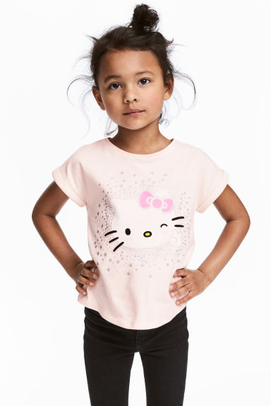 Tricot top met print - Lichtroze/Hello Kitty - KINDEREN | H&M BE 1