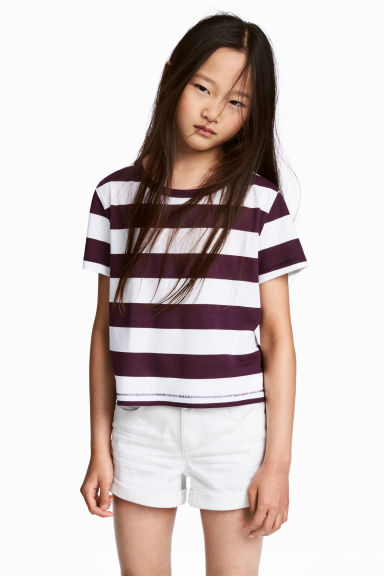 Jersey top - Plum/Striped - Kids | H&M