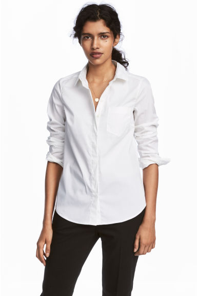 Fitted shirt - White - Ladies | H&M CN 1