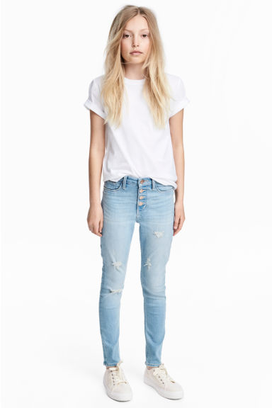 Skinny Fit High Worn Jeans - Light denim blue - Kids | H&M CN