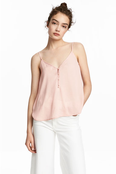 V領細肩帶上衣 - Powder pink - Ladies | H&M 1