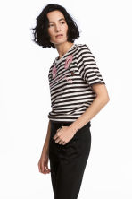 Embroidered T-shirt - Dark grey/Striped -  | H&M 1