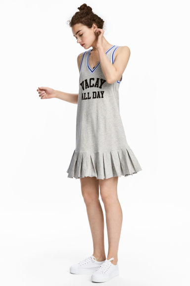 V-neck jersey dress - Grey marl - Ladies | H&M