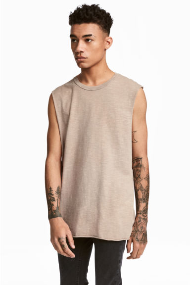 Slub jersey vest top - Beige - Men | H&M 1