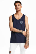 Cotton vest top - Dark blue - Men | H&M 1