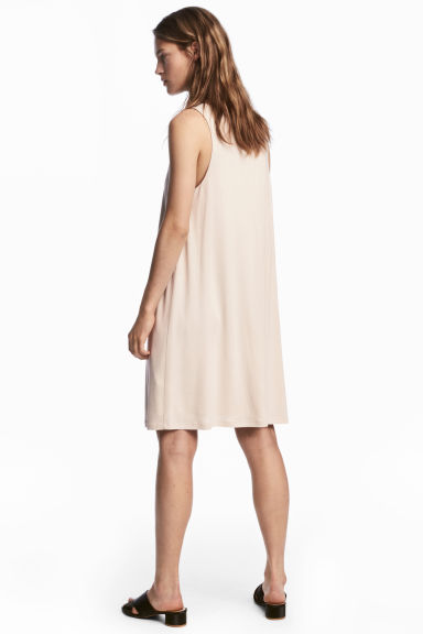 V-neck jersey dress - Light beige - Ladies | H&M 1