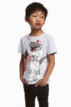 Printed T-shirt - Light grey/Dinosaur - Kids | H&M CN 1