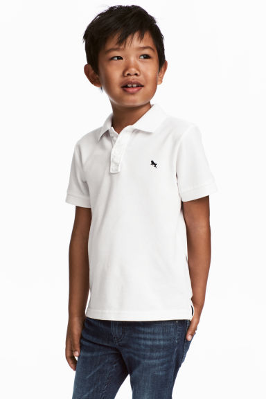 Piqué polo shirt - White -  | H&M CN