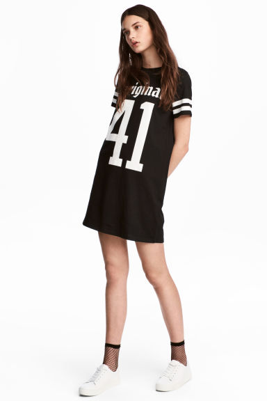 T-shirt dress - Black/Text - Ladies | H&M 1