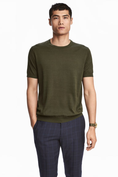 Fine-knit silk-blend T-shirt - Dark khaki green - Men | H&M 1