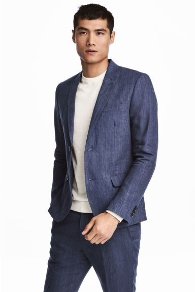 Linen jacket Slim fit - Navy blue - Men | H&M CN 1