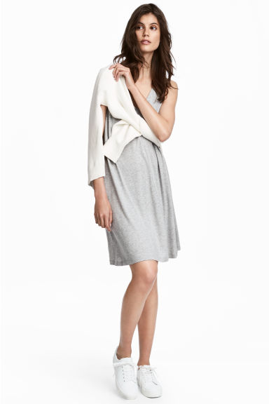 V-neck jersey dress - Grey marl - Ladies | H&M 1
