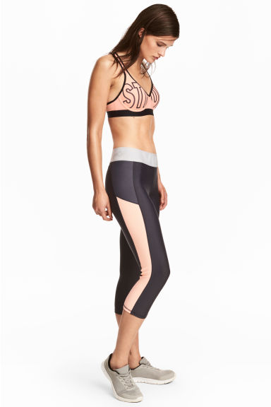 3/4-length sports tights - Dark grey - Ladies | H&M 1
