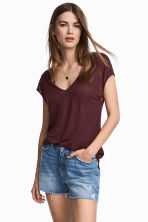 Lyocell V-neck top - Plum -  | H&M CN 1