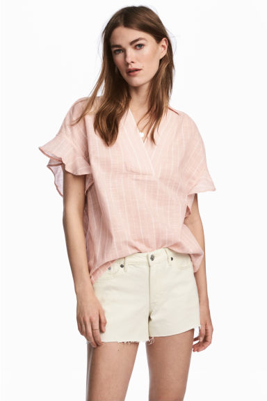 Frill-sleeved cotton blouse - Powder/Striped - Ladies | H&M CN 1