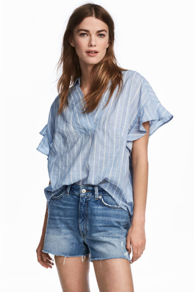 Frill-sleeved cotton blouse - Light blue/Striped - Ladies | H&M CN