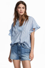 Frill-sleeved cotton blouse - Light blue/Striped - Ladies | H&M CA 1