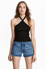 Halterneck top - Black - Ladies | H&M 1