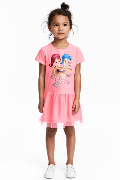 Dress with a tulle skirt - Pink/Shimmer and Shine - Kids | H&M 1