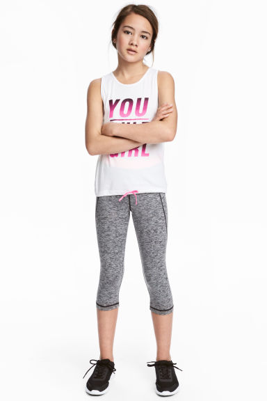 3/4-length sports tights - Dark grey marl - Kids | H&M 1