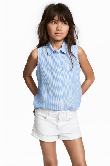 無袖女衫 - Blue/White/Striped - Kids | H&M 1