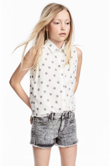 Sleeveless blouse - White/Stars - Kids | H&M 1