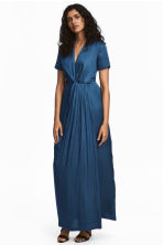Long satin dress - Dark blue - Ladies | H&M 1