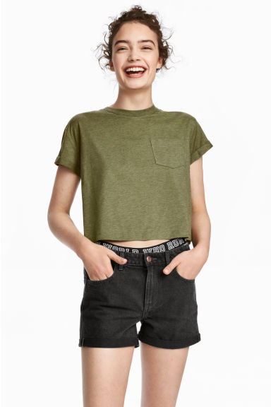 Cropped T-shirt - Khaki green marl - Ladies | H&M CN 1