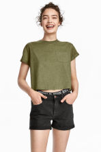 Cropped T-shirt - Khaki green marl - Ladies | H&M 1