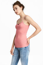 Long jersey strappy top - Coral pink - Ladies | H&M 1