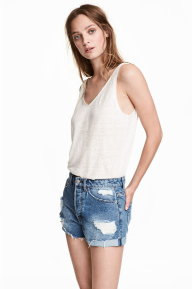 Short High Waist Shorts - Denim blue trashed - Ladies | H&M 1