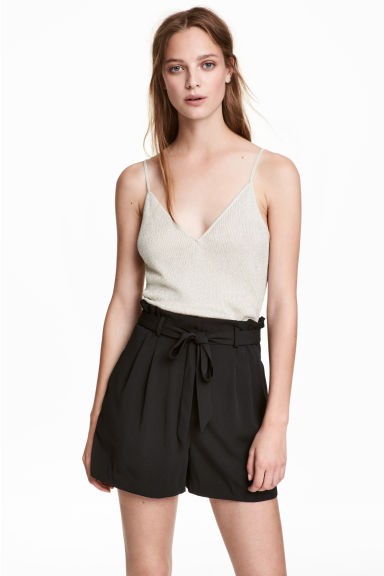 Glittery strappy top - Light beige/Glittery - Ladies | H&M 1