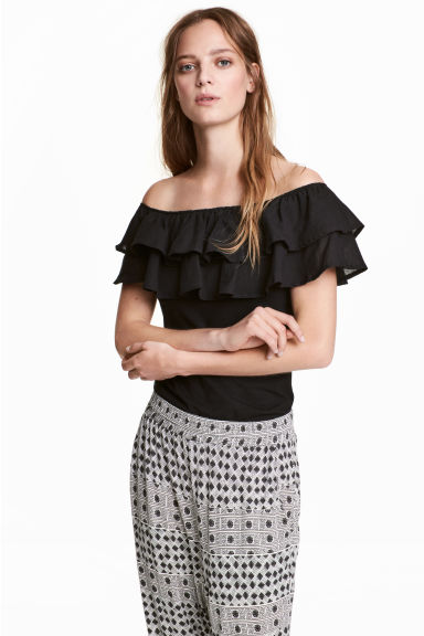 Off-the-shoulder top - Black - Ladies | H&M 1