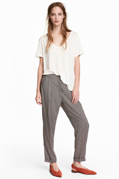 Pull-on trousers - Black/Patterned - Ladies | H&M
