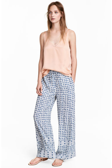 Wide trousers - Blue/White/Checked - Ladies | H&M CA 1