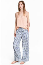Wide trousers - Blue/White/Checked - Ladies | H&M 1