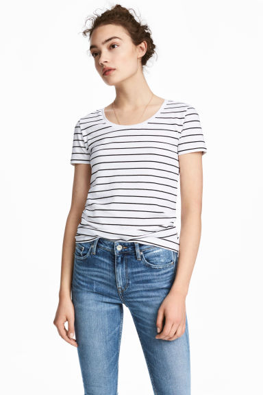 Jersey top - White/Black striped - Ladies | H&M CN 1