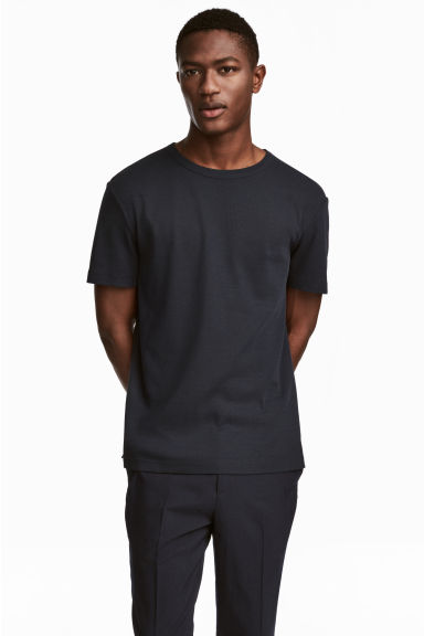 Cotton-blend T-shirt - Dark blue - Men | H&M CN 1