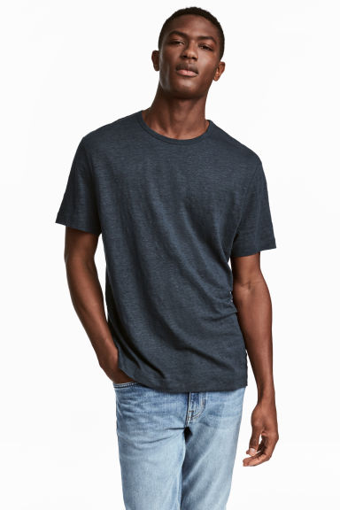 Linen T-shirt - Dark blue - Men | H&M CN