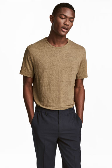 Linnen T-shirt - Donkerbeige - HEREN | H&M BE