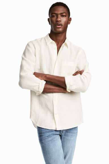 Linen shirt - White - Men | H&M CA