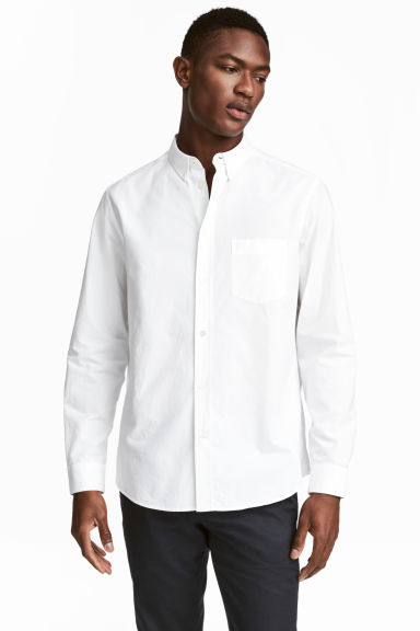 Pima cotton shirt - White - Men | H&M CN