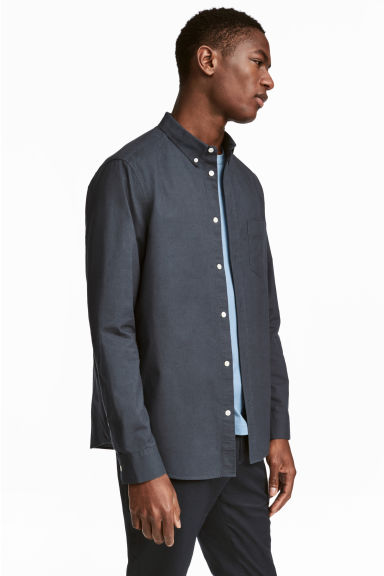 Pima cotton shirt - Dark grey-blue - Men | H&M 1