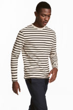 Striped cotton top - Light beige/Black - Men | H&M CN 1