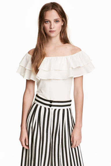 Off-the-shoulder top - White - Ladies | H&M 1
