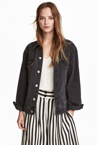 Denim jacket - Black denim - Ladies | H&M 1